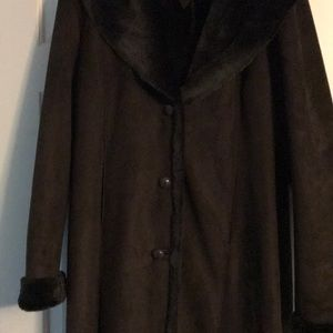 Marvin Richards Long dark brown suede coat